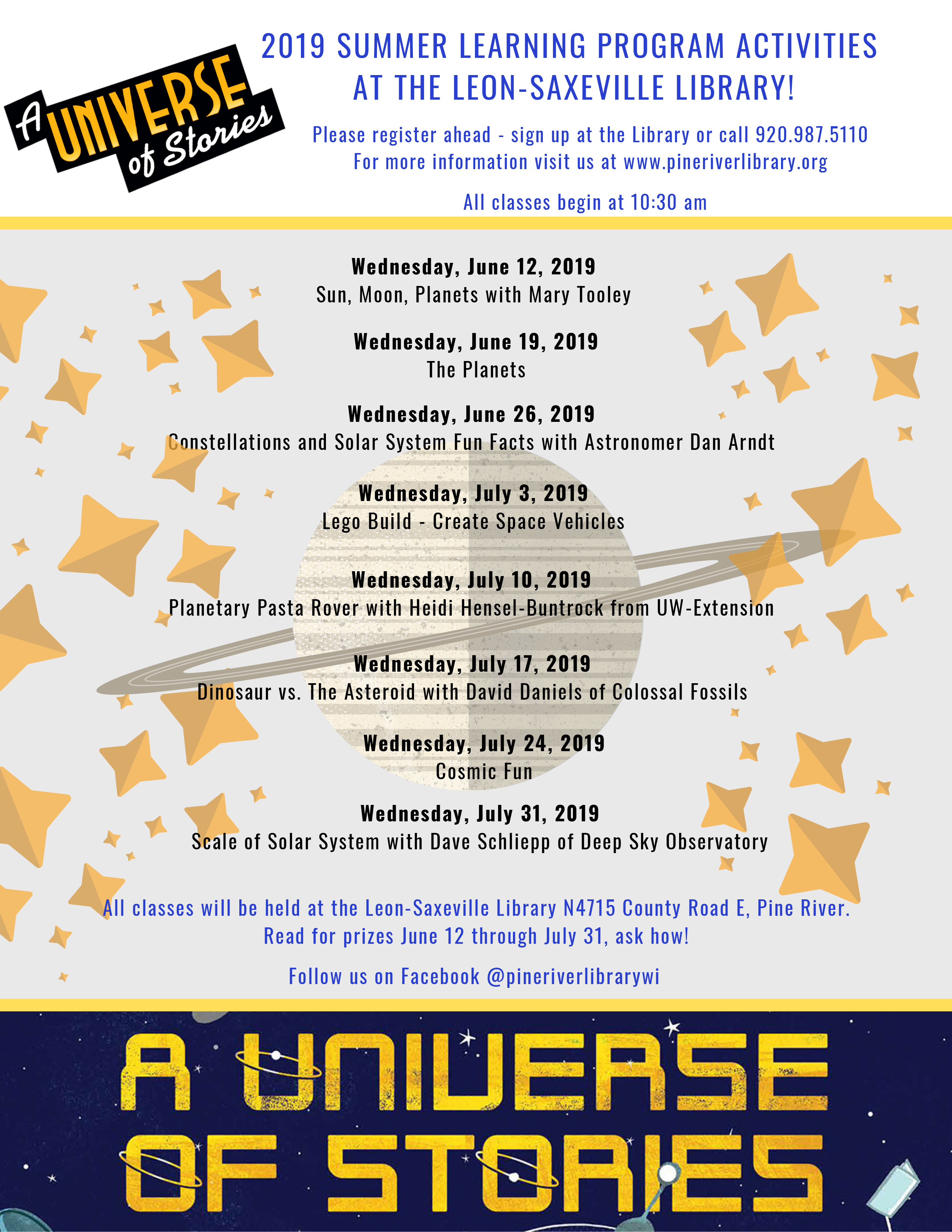 2019 Summer Learning Program Activities at the Leon-Saveville Library