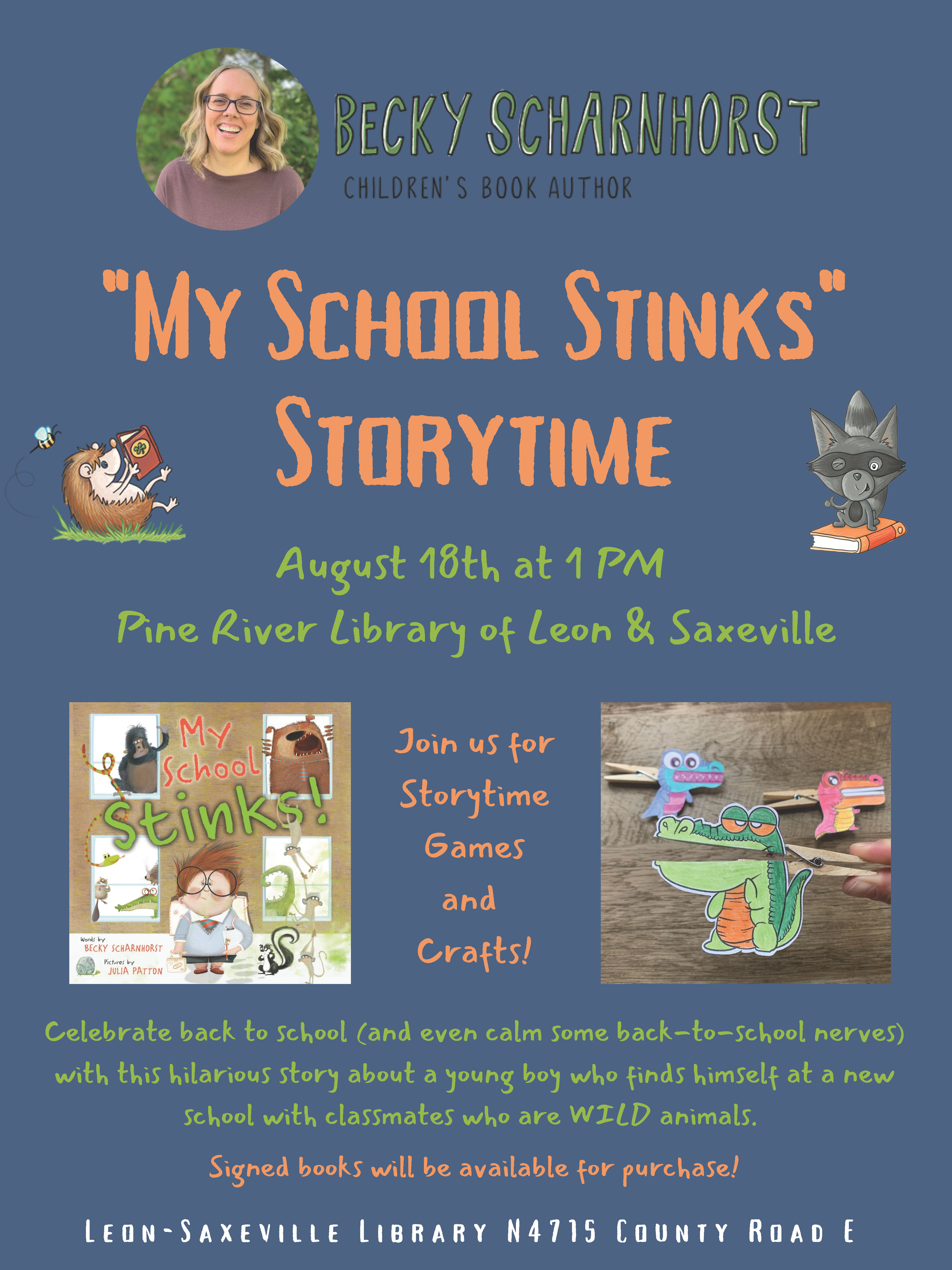 Story Time at the Library Ages 4-10 years!  Don't miss it!